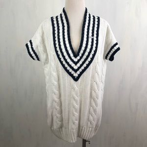 Lacoste Cable Knit V-Neck Sweater Tunic Vest Top